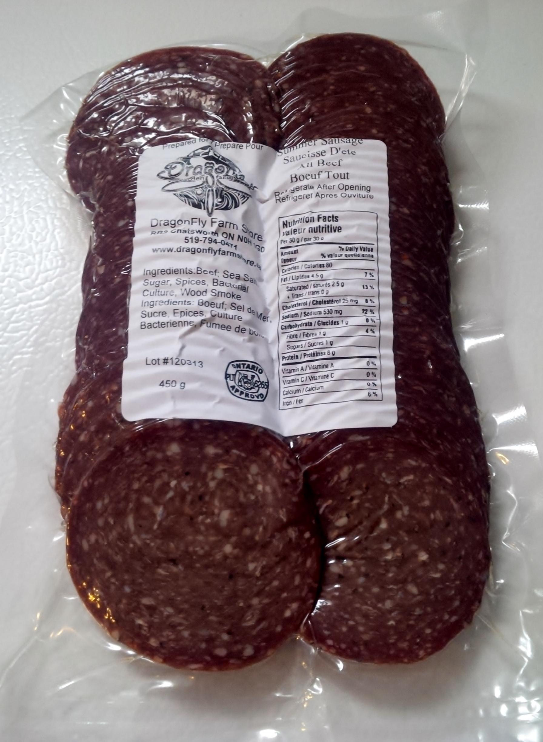 1 Lb SLICED Summer Sausage - Grass-fed Beef